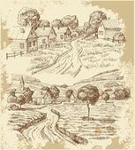 """Постер, картина, фотообои """"деревенский эскиз зданий с едой"""""""