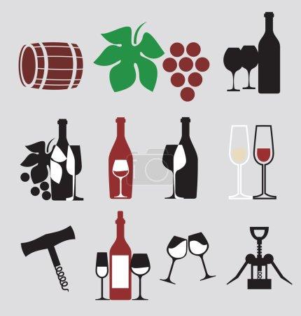 Illustration pour Collection d'icônes vectorielles du vin - image libre de droit