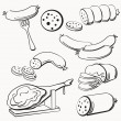 Meat and Sausages icon set...