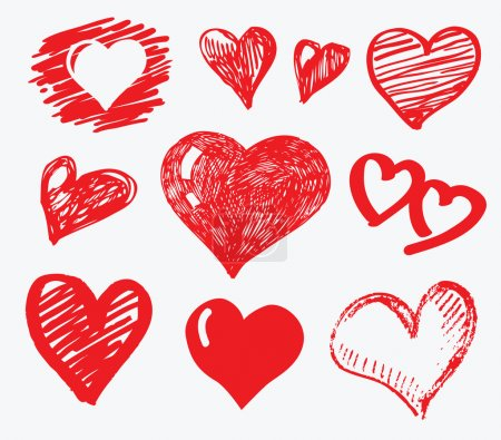 Illustration for Vector illustration of red hearts - Royalty Free Image