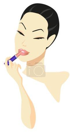 Illustration pour Femme appliquant maquillage isolé sur fond blanc - image libre de droit