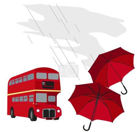 London Bus and Umbrellas