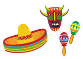 Illustrations of Mexican symbols on white background