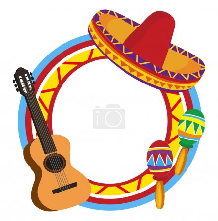 Illustration for Frame with the illustrations of Mexican symbols - Royalty Free Image