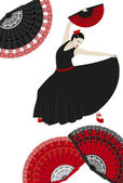Illustration of a flamenco dancer with spanish fans