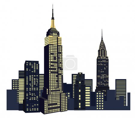 Illustration for Illustration with New York Skyscrapers - Royalty Free Image