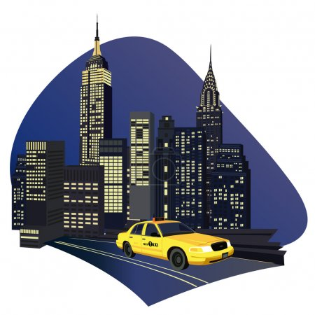 Illustration for Illustration with skyscrapers and a new york taxi - Royalty Free Image