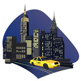 Illustration with skyscrapers and a new york taxi