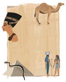 Papyrus background with Nefertiti and hieroglyphs