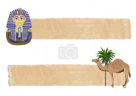Papyrus banners with Tutankhamun and a camel...