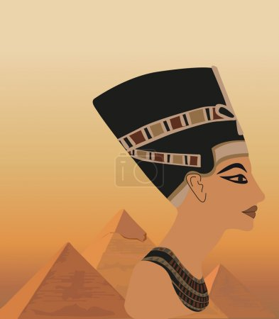 Background illustration with Nefertiti and the pyr...