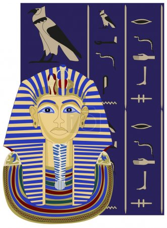 Background illustration of Tutankhamun and hierogl...