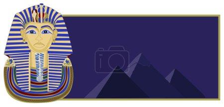 Background illustration of Tutankhamun and the pyr...