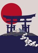 Mount Fuji and Torii Gate