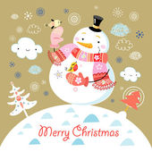 Bright new year card with snowmen and birds in the background with clouds and Christmas trees
