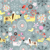 Floral seamless pattern with dogs and cats on a gray background