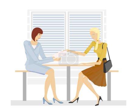 deux filles dans le Bureau
