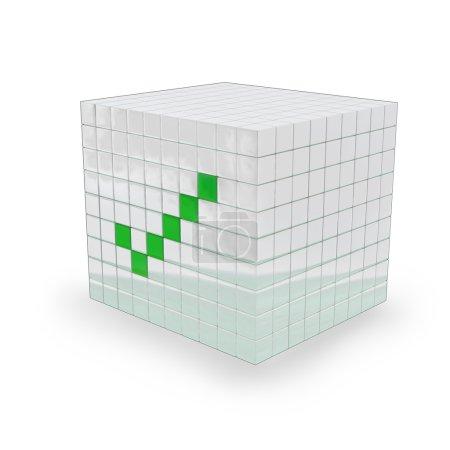 Photo pour Cube blanc avec une marque verte ok là-dessus, faite dans le logiciel 3d, sur fond blanc - image libre de droit