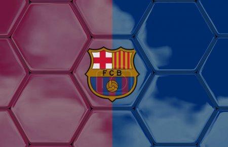 Photo pour Texture de football avec un drapeau de Barcelone, Création en logiciel 3D , - image libre de droit