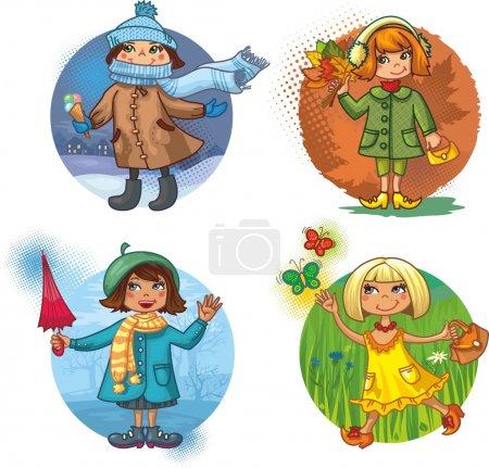 4 vector illustration - little girls and seasons