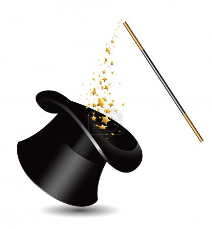 Magic hat and wand with sparkles. vector...