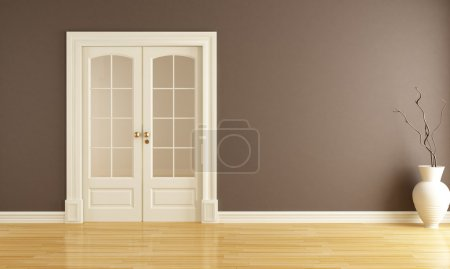 Photo for Empty brown interior with classic sliding door - rendering - Royalty Free Image
