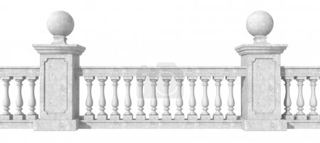 Photo for Classic balustrade with pedestal isolated on white background- rendering - Royalty Free Image