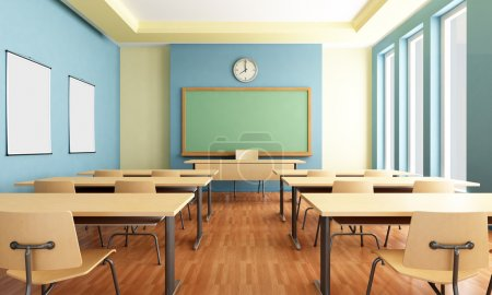 Photo for Bright empty classroom without student with wooden furniture -rendering - Royalty Free Image