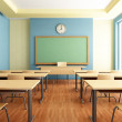 Bright empty classroom without student with wooden...