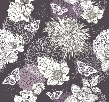 Illustration for Seamless pattern with flowers and butterfly. Floral background. - Royalty Free Image