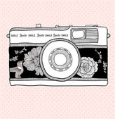Background with retro camera Vector illustration Photo camera with flowers and birds Camera with floral pattern