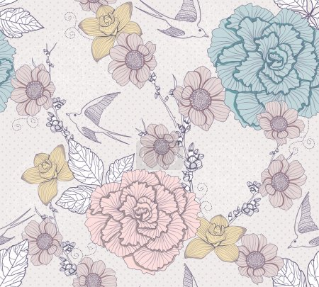 Illustration for Seamless floral pattern. Seamless pattern with flowers and birds. Elegant and romantic background with swallows. - Royalty Free Image