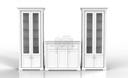 Photo for The high cupboard and chest of drawers on a reflecting surface - Royalty Free Image
