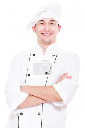 Photo for Portrait of happy young cook. isolated on white background - Royalty Free Image