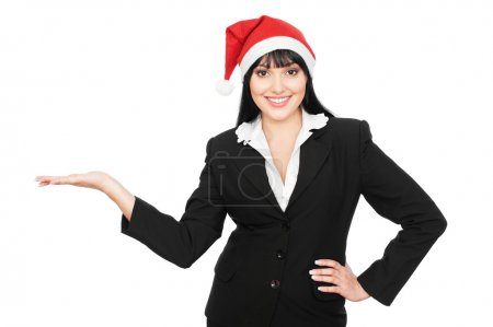 Christmas businesswoman holding something on his palm