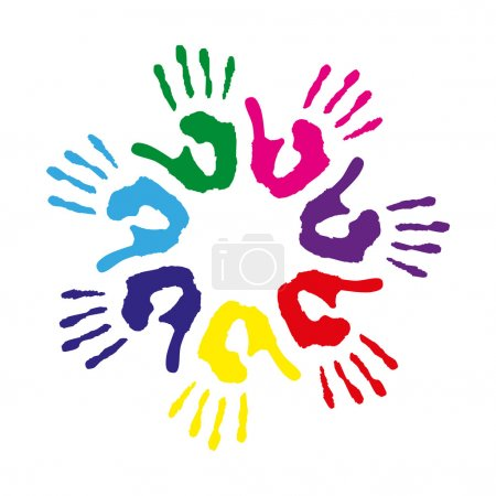 Circle with colorful hand prints