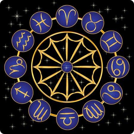 Illustration for Gold zodiac symbols on blue with stars, on black background, vector illustration - Royalty Free Image