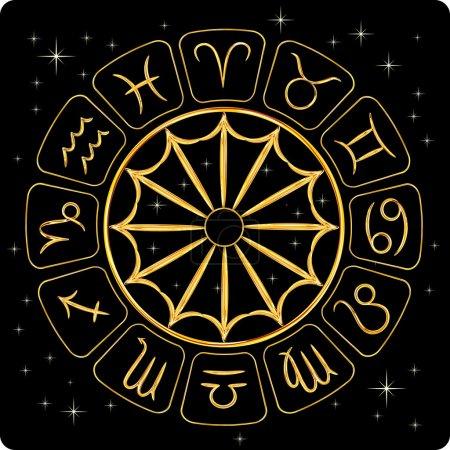 Illustration for Gold zodiac symbols with stars, on black background, vector illustration - Royalty Free Image