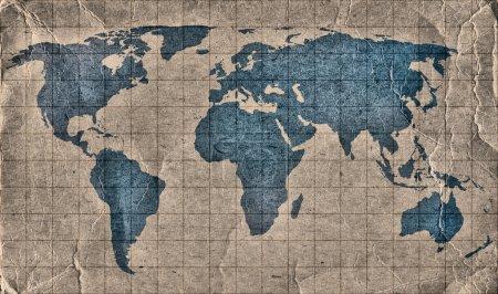 Карта мира гранжа