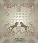 Silhouette horse floral design