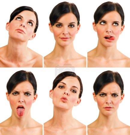 Photo pour Groupe de portraits - jeune femme montrant six expressions différentes - image libre de droit