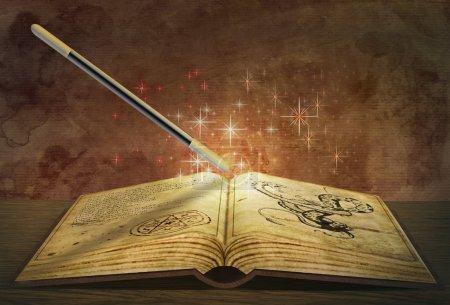 Photo pour Rendu 3D d'un livre magique - image libre de droit
