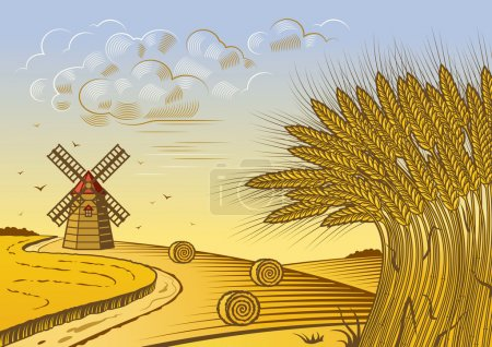 Illustration for Retro wheat fields landscape in woodcut style. Vector illustration with clipping mask. - Royalty Free Image