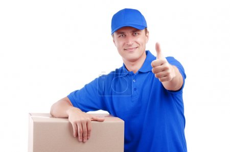 Courier on white background thumbs up