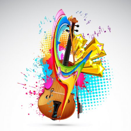 Illustration pour Illustration de violon sur fond grunge abstrait coloré - image libre de droit