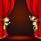 Illustration of kids in costume peeping from stage curtain