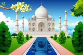 Illustration of front view of taj mahal with lake and garden