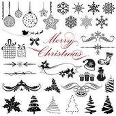 Illustration of set of vintage design elements for christmas