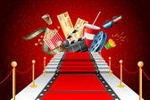 Illustration of film stripe laying as red carpet with entertainment object