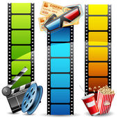Illustration of colorful film reel with pop cornreel and clapper board